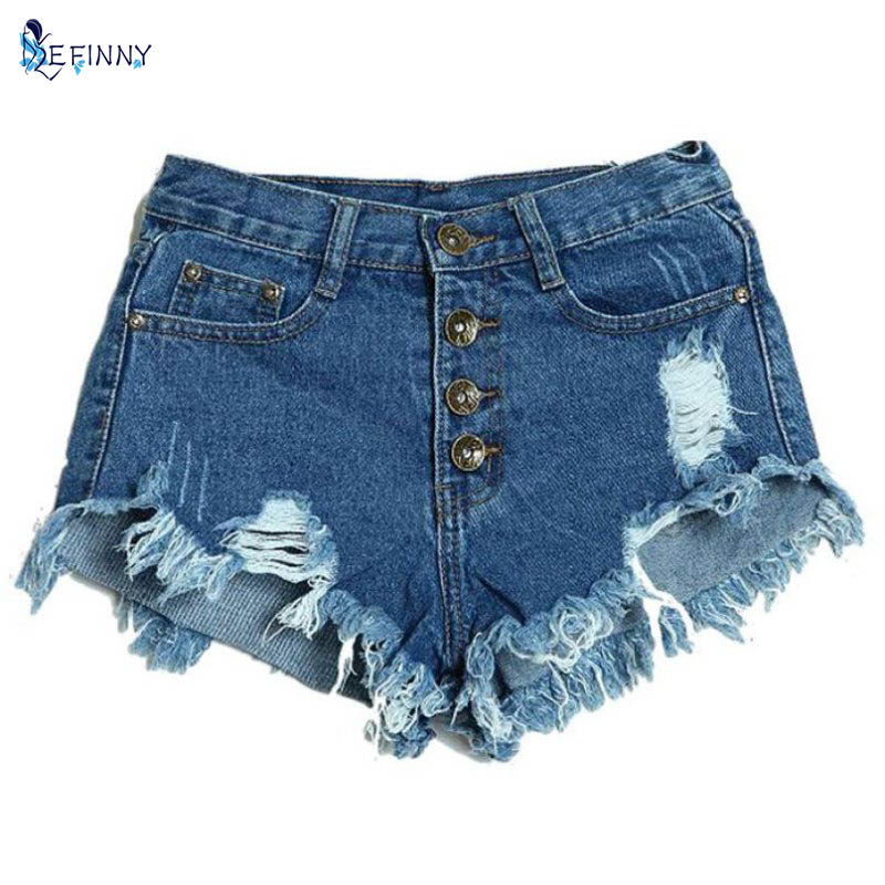 Summer Women Vintage Club Denim Shorts Sexy Hip Hop Skull Patch Ripped Shorts