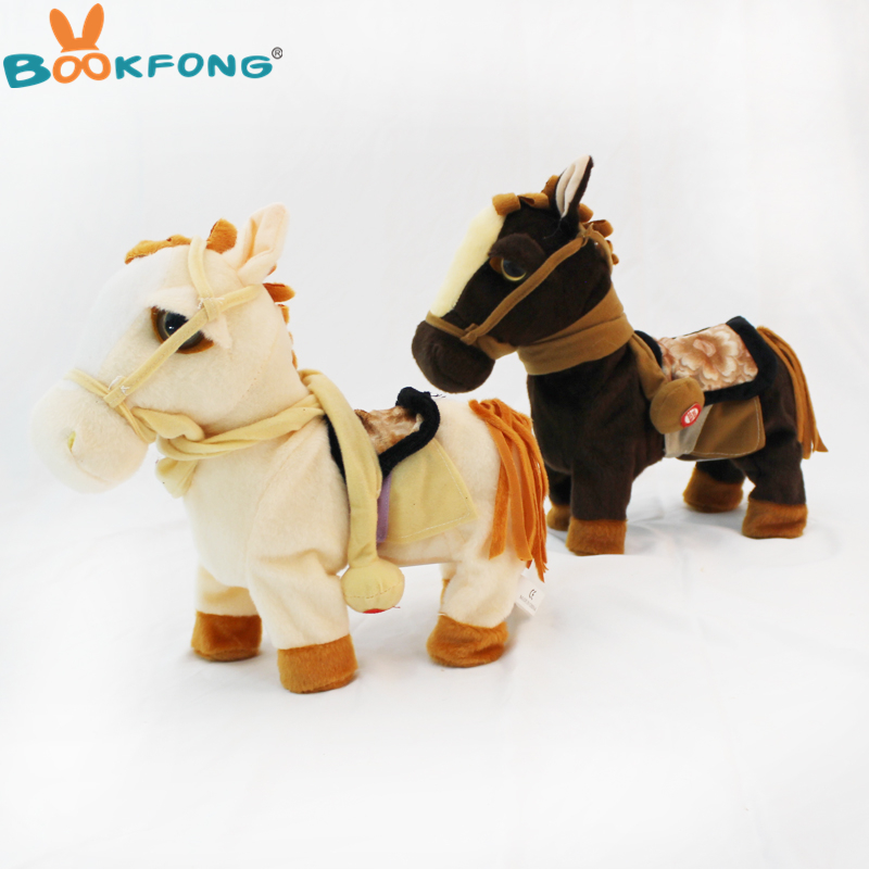 30cm Electric Horse Plush Toy Music Sound Walking