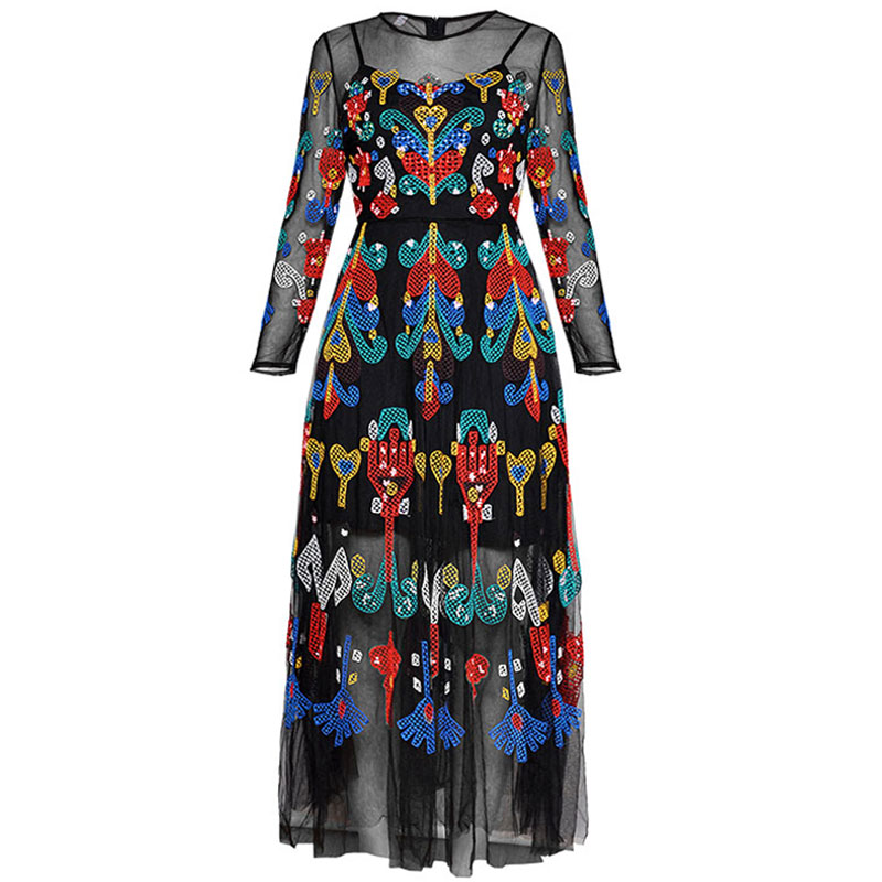 Red RoosaRosee Summer Women's Long Sleeve Heavy Gauze Embroidery Long Sleeve Slim Black Gauze Long Maxi Dress Boho Vestidos Robe-in Dresses from Women's Clothing    1