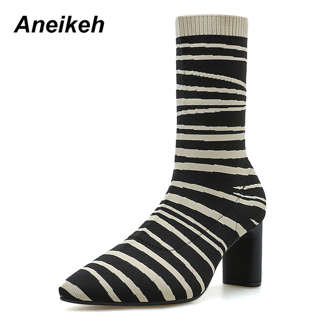 Aneikeh Autumn Boots Women Pointed Toe Elastic knitting Ankle Boots Heel  High Heels Shoes Fashion Striped Women Ankle Boots d3088085610e