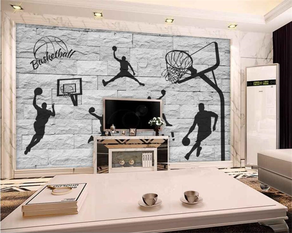 beibehang 3D brick wall hand painted basketball element wallpaper living room bedroom mural home decoration background wallpaper free shipping 3d wall breaking basketball background wall bedroom living room studio mural home decoration wallpaper
