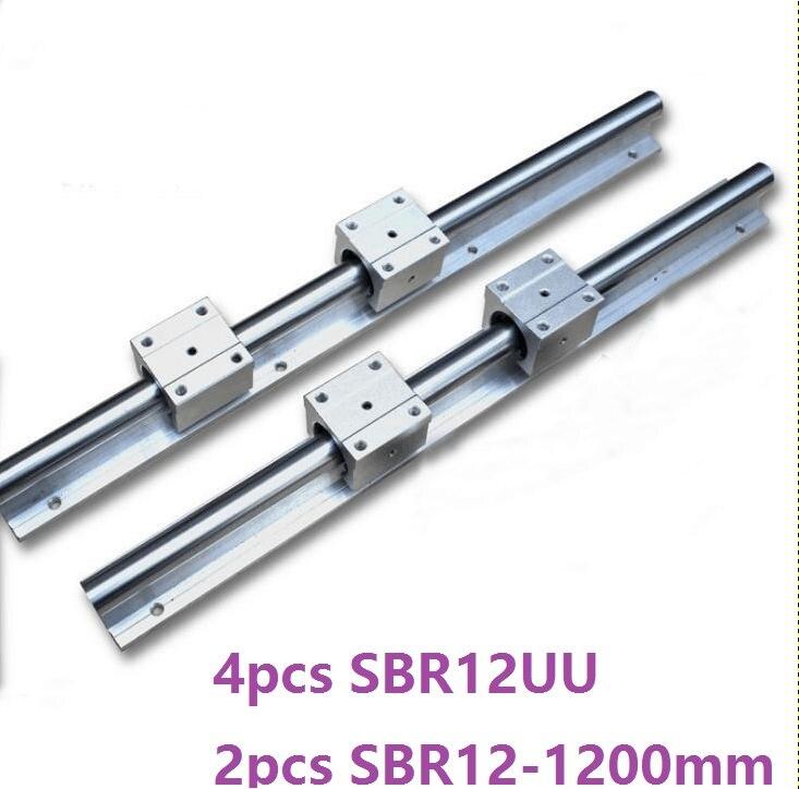 2pcs SBR12 -L 1200mm support rail linear rail guide + 4pcs SBR12UU linear sliding blocks CNC router parts 2pcs sbr12 l 1000mm support rail linear rail guide 4pcs sbr12uu linear bearing blocks cnc router parts