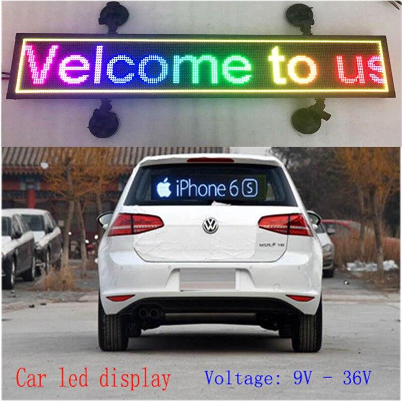 Imagem programável interior LEVOU exibição RGB full color LEVOU sinal Do Carro suporte de texto de rolagem LEVOU exibição da tela de publicidade
