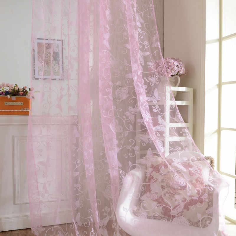 Home Fashion Door Drape Panel Scarf Sheer Voile Butterfly Flocked Yarn Window Curtain Decal Pink Curtain