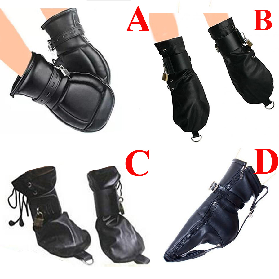Fetish Mittens/Boot Booties, Leather Gloves Dog Paw Palm Sensory Deprivation Padded Fist Mitts Socks,BDSM Bondage,Sex Toys