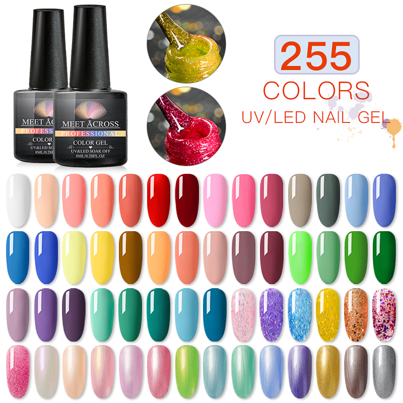 MEET ACROSS 255 Colors Gel Polish All For Manicure Semi Permanent Gel Top Coat UV LED Gel Varnish Soak Off Nail Art Gel Polish