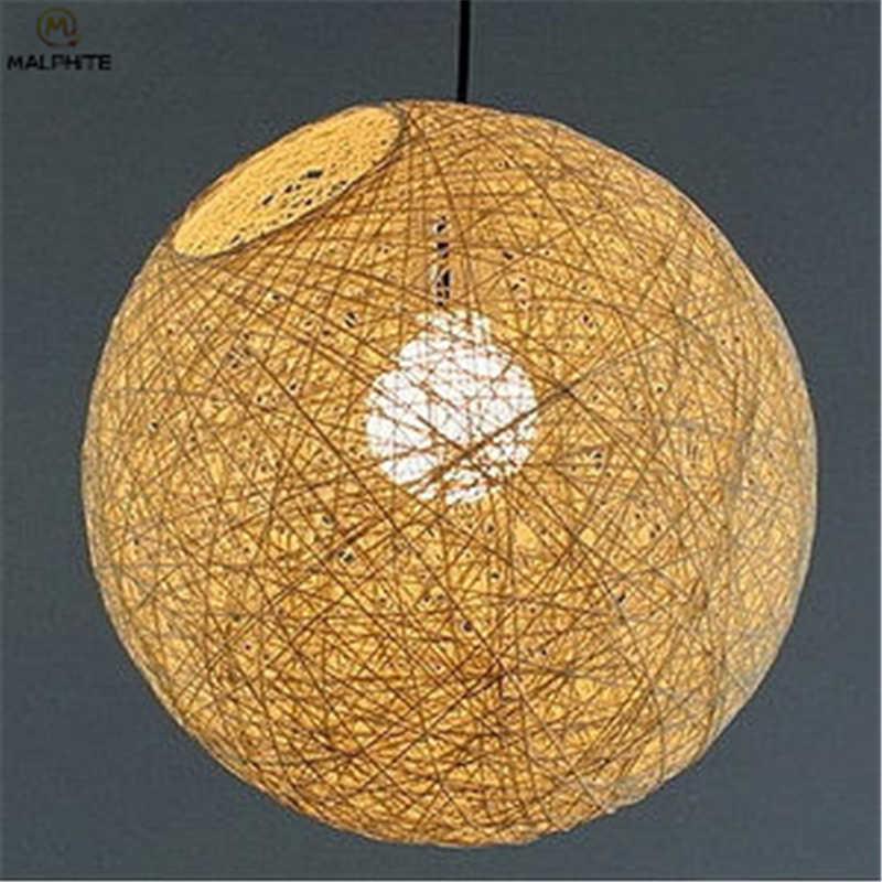 الحديثة القنب قلادة أضواء الروطان الفن مطعم شريط مصباح معلق تركيبات المطبخ غرفة المعيشة المنزل Hanglamp الإنارة