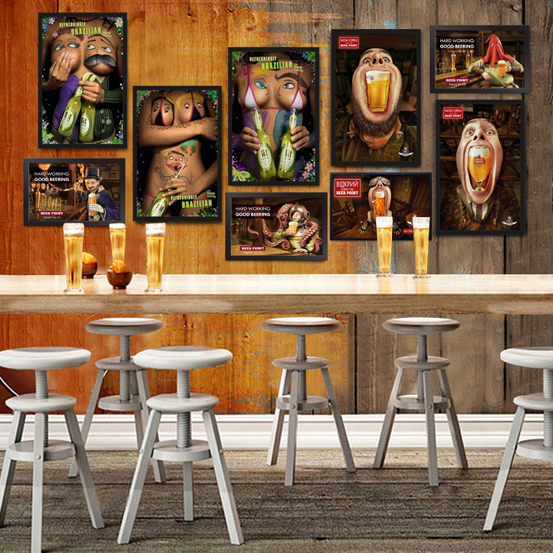 Ice Cold Free Beer Here Painting Beard Man Graffiti Beauty Art Poster Antique Bar Pub Club Home Decorative Retro Wall Picture
