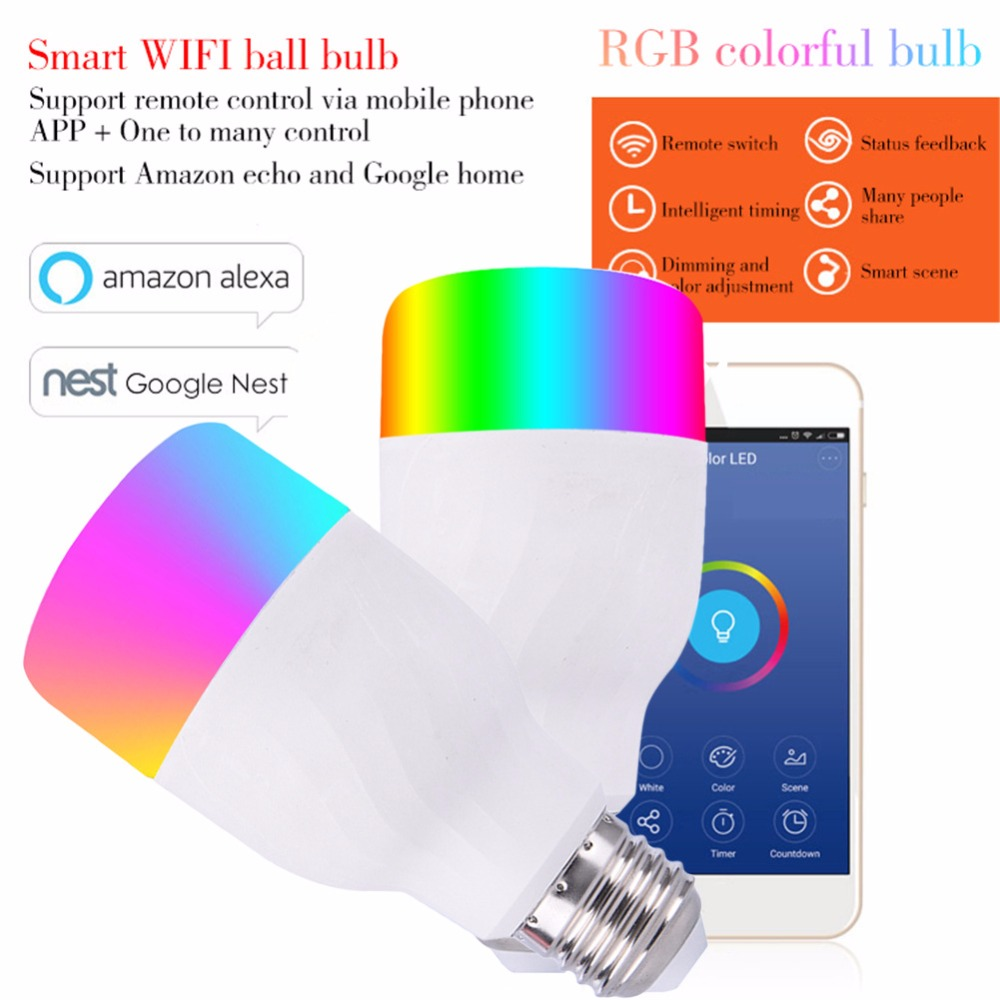 LED Smart Bulb E27 B22 12W 600 Lumen RGBW Color Light Bulb WiFi Smartphone remote control