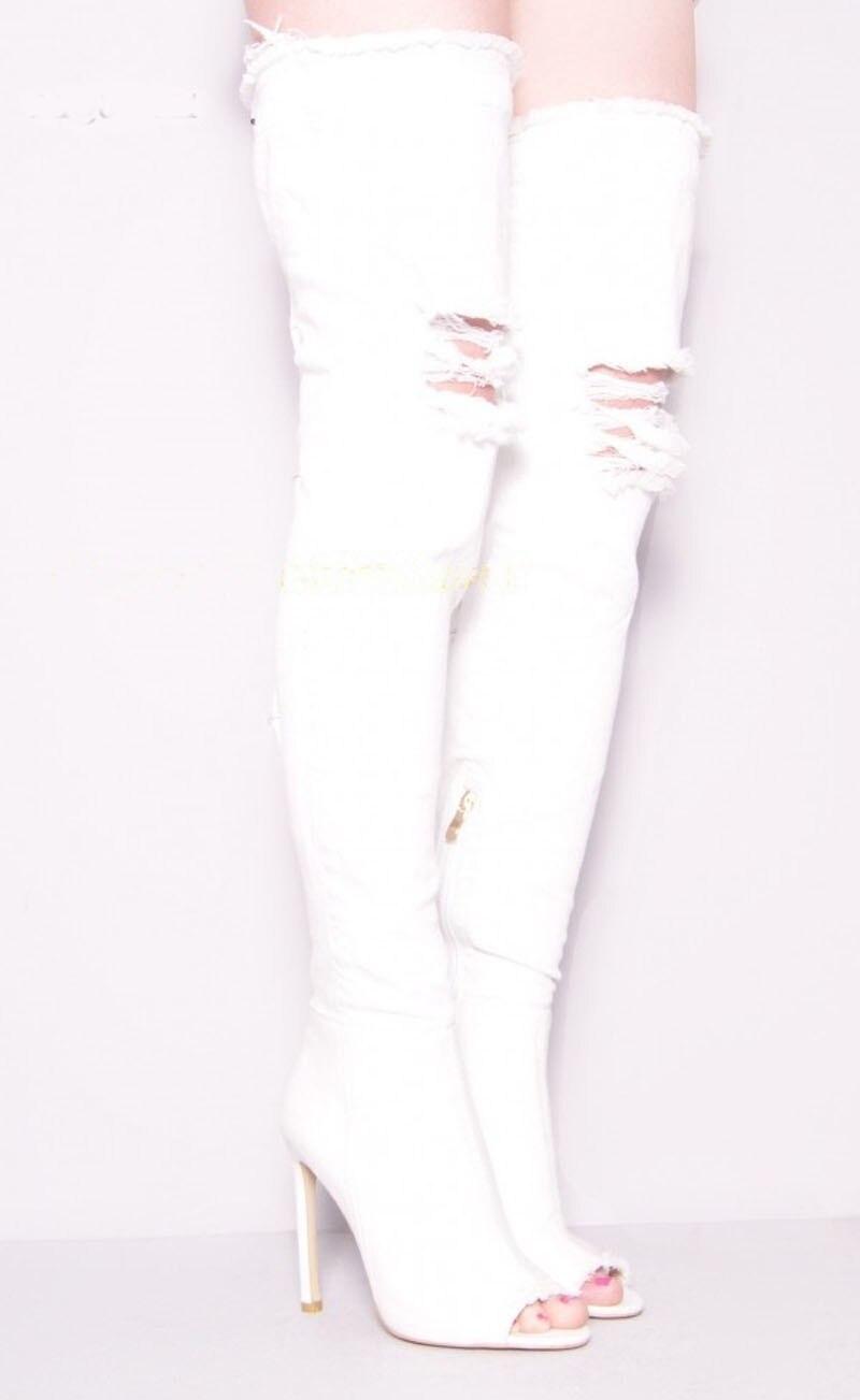 Cremallera Señora Denim Altos Negro Botas Sandalias Rodilla Cut Sexy Negro Sobre Sestito La blanco Lateral Mujer Blanco Toe Roma Peep Niñas outs Y Tacones zZ1qwxv