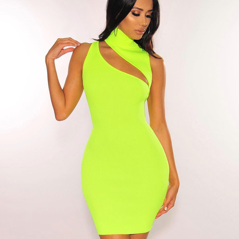 Sleeveless Asymmetric Cut Out <font><b>Sexy</b></font> Summer <font><b>Dress</b></font> 2019 Neon Green Rib Knit Mini <font><b>Bodycon</b></font> <font><b>Dresses</b></font> Women <font><b>Club</b></font> Wear image