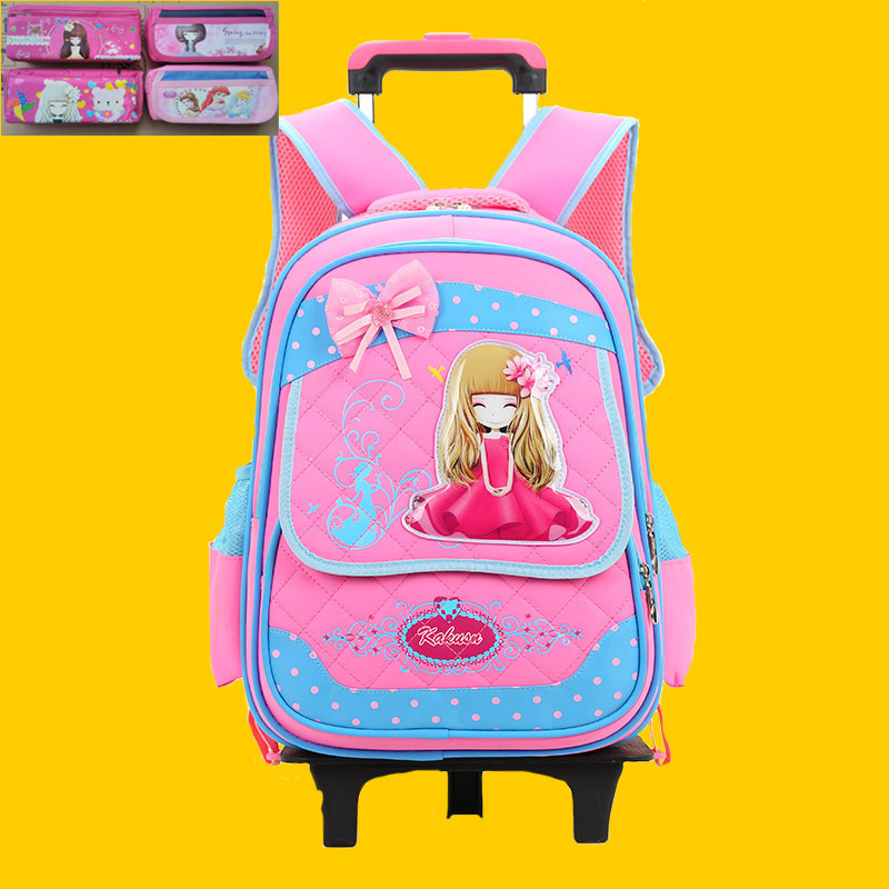 Girls Princess Primary School Trolley Backpack Kids Student Children Detachable Rolling Backpack Daypack With Wheels