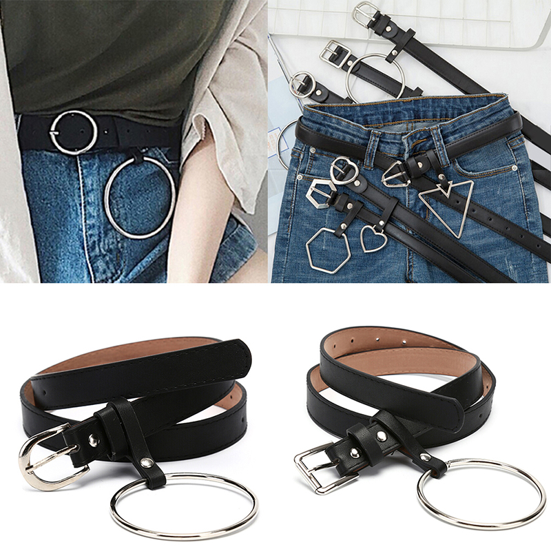 Punk Harajuku PU Leather Belts For Women Metal Round Heart Geometry Buckle Belt Waistband Party Jeans Dress For Ladies Belt