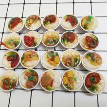 2pcs 소형 인형 집 1:6 가늠자 중국 밥 소형 Chinses 요리 디저트 국수 음식 for1/6 인형 부엌 장난감을 가장하십시오