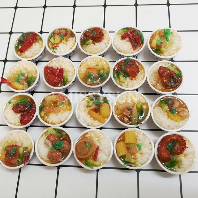 Casa de muñecas en miniatura, 2 uds., escala 1:6, arroz chino, Mini china, cocina, postre, fideos, comida de imitación para 1/6 muñecas, juguetes de cocina