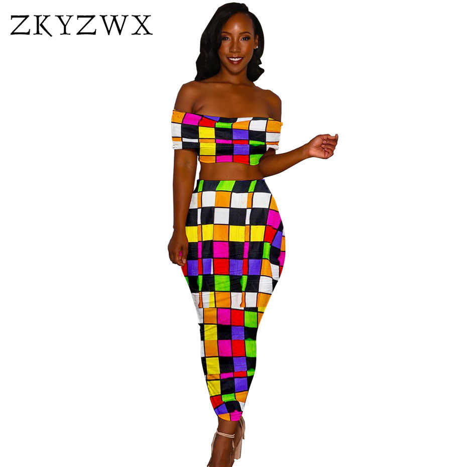 b320c933e855 ZKYZWX Sexy Two Piece Set Women Off Shoulder Crop Top+Bodycon Maxi Skirt  Suits Casual