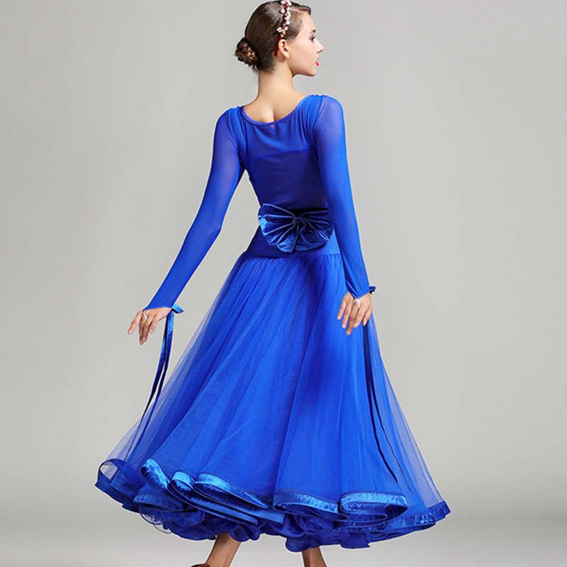 Picture of 5 Colors Blue Ballroom Competition Dress Ballroom Tango Dresses Standard Ballroom Waltz Dresses Ballroom Dancing Dress Fringe