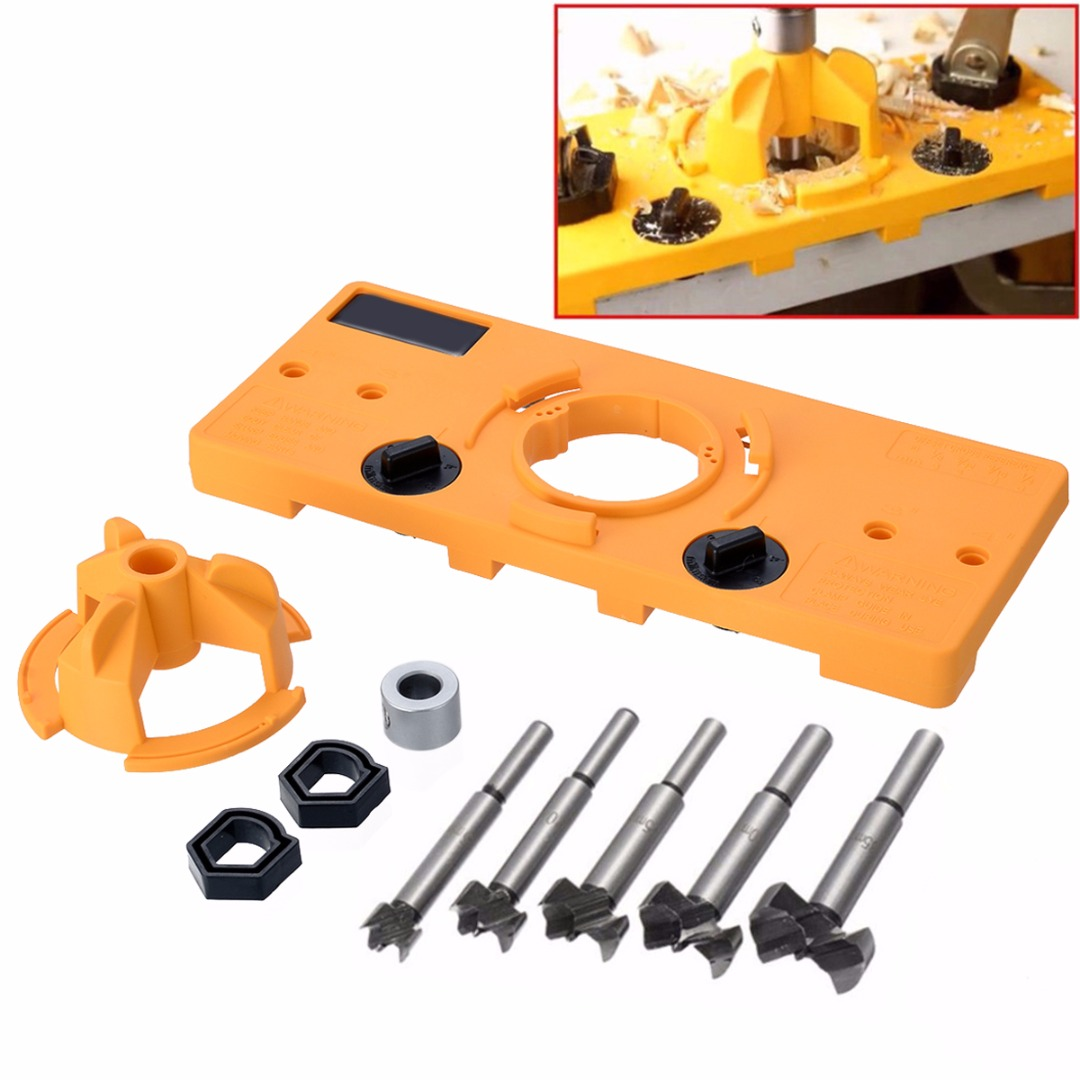 цена на 1Set 5pcs Cup Style Hinge Jig Boring Hole Drill Guide 15-35MM + Forstner Bit Wood Cutter Carpenter Woodworking Tools