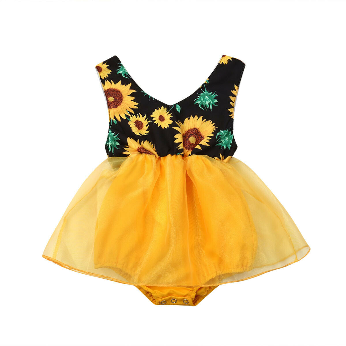 Flower Infant Baby Girl Clothing Newborn Baby   Rompers   Sunflower Tutu Tulle Jumpsuit Playsuit Summer Baby Girls Costuems