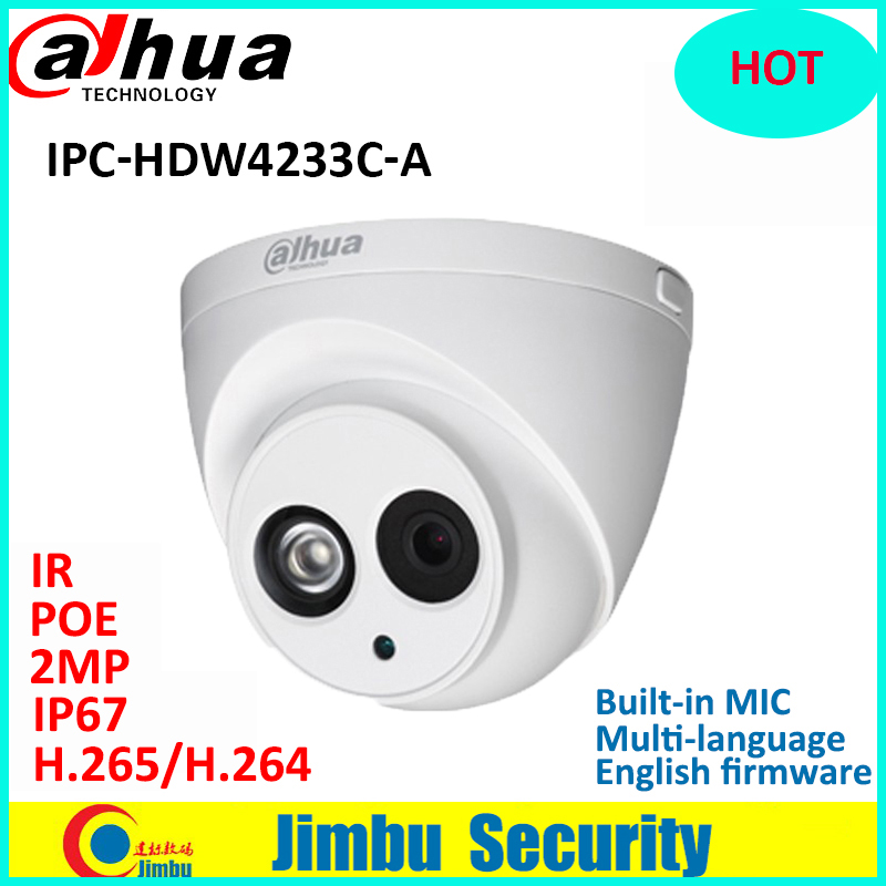Dahua 2MP starlight IP Camera IPC-HDW4233C-A H.265 2MP Full HD Network Camera IR Support POE and Onvif Built-in MIC HDW4233C-A