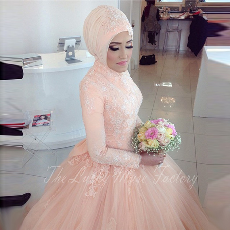 Elegant Lace Long Sleeve Muslim Wedding Dress With font b Hijab b font Ball Gown Princess