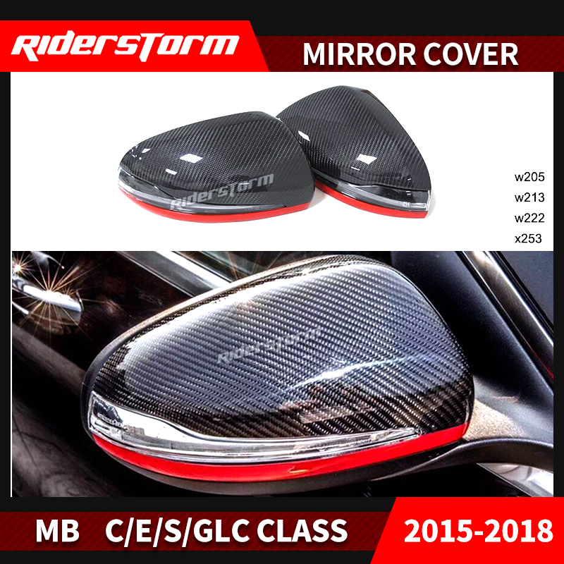 Carbon Fiber Rear View Mirror Cover Caps Turn Signal Corner Lamp for Mercedes Benz C Class W205 2015+ Replacement Auto Parts