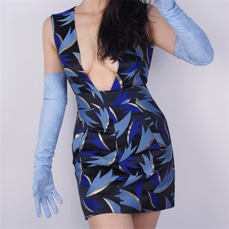 New Suede Extra Long Gloves Woman Leather Style Over Elbow Simulation Light Blue 60cm TB114