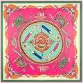 130 см * 130 см 100% Натуральный Шелк Евро Фирменный Стиль Женщины Традиционный Китайский Dradon Печатные Шелковый Платок Моды платки
