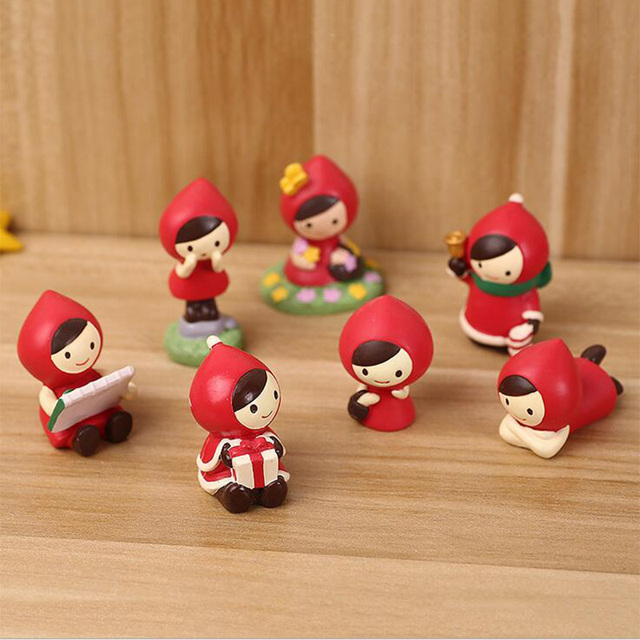 Little Red Riding Hood Miniature Girl Figurine Decoration Wedding Mini Fairy  Garden Statue Resin Craft Toy