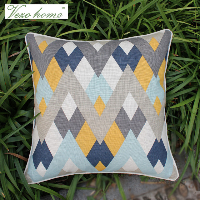 VEZO HOME Print Navy Chevron Geometric Abstract Cotton Linen Sofa Cushions  Throw Pillows Pillowcase Chair Home