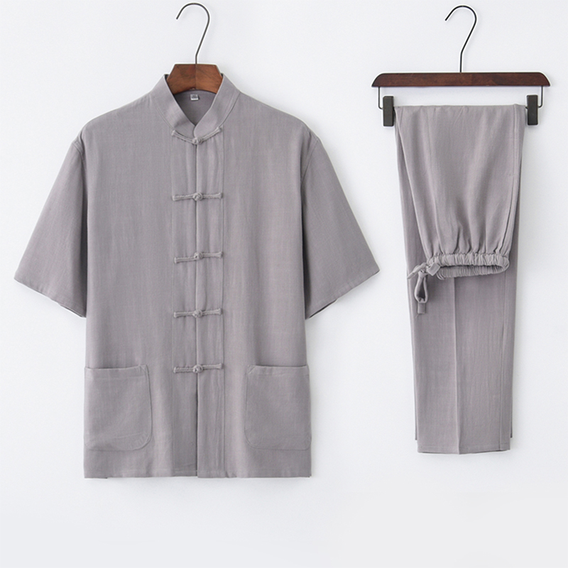 Male Costume Cotton Chort Cleeved Suit Summer Chinese Tea Clothing Collar Lay Clothes Chinese Wind Kung Fu Clothing стоимость