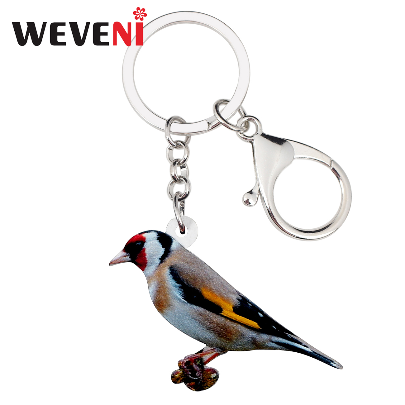 WEVENI Acrylic European Goldfinch Bird Key Chains Holder Ring Fashion Jewelry For Women Girl Car Bag Pendant Charms Keychain New