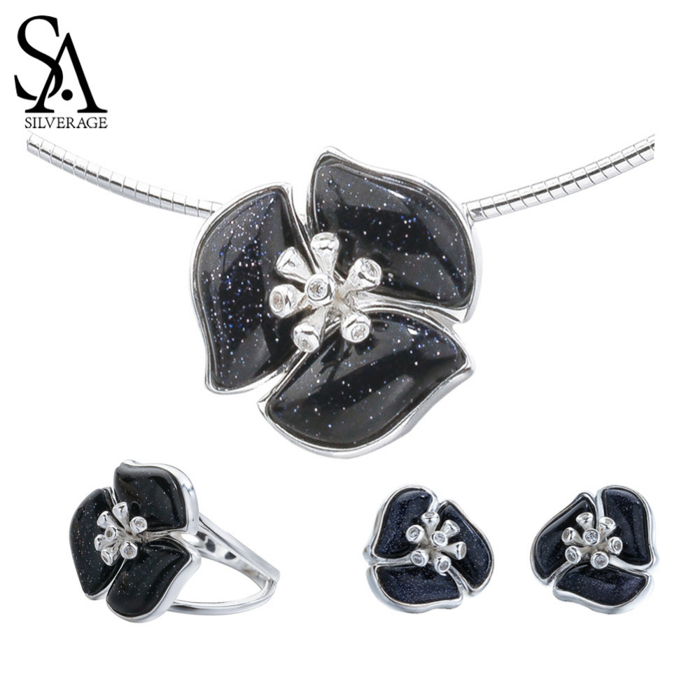 SA SILVERAGE 925 Sterling Silver Iris Shape Gemstone Stud Earrings Choker Necklace Wedding Ring Jewelry Sets