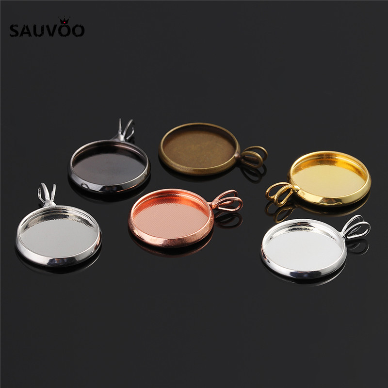 10pcs Silver Color Round Pendant Setting Cabochon Blank Tray Bezel 10mm 12mm 14mm 16mm 18mm 20mm For DIY Jewelry Making Findings