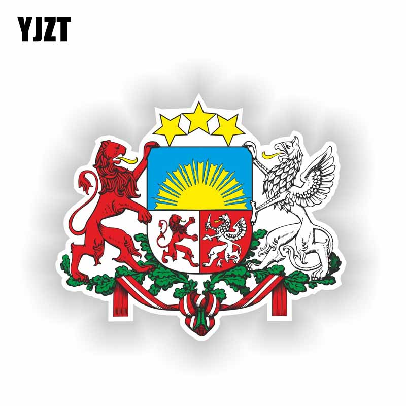 YJZT 13.8CM*11.5CM Car Motorcycle Latvia Coat Of Arms Helmet Car Sticker PVC Decal 6-2196