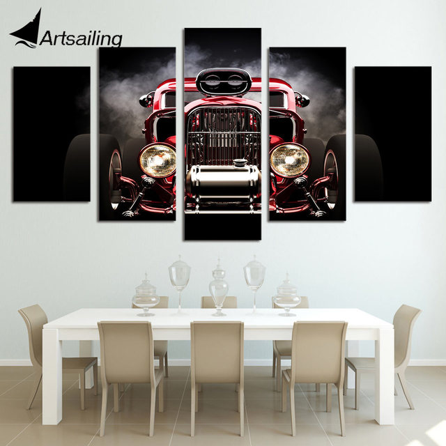 5 Pieces Printed Hot Rod Red Front View Wheels Paintings Wall Art Canvas Modular Living Room