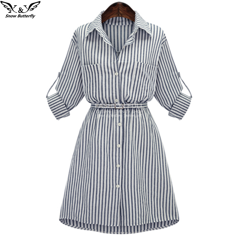Autumn winter women shirt dress lady long sleeve stripe Women s long sleeve shirt dress