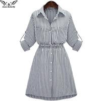Autumn Winter Women Shirt Dress Lady Long Sleeve Stripe Bodycon Party Dresses Cotton Blends Plus