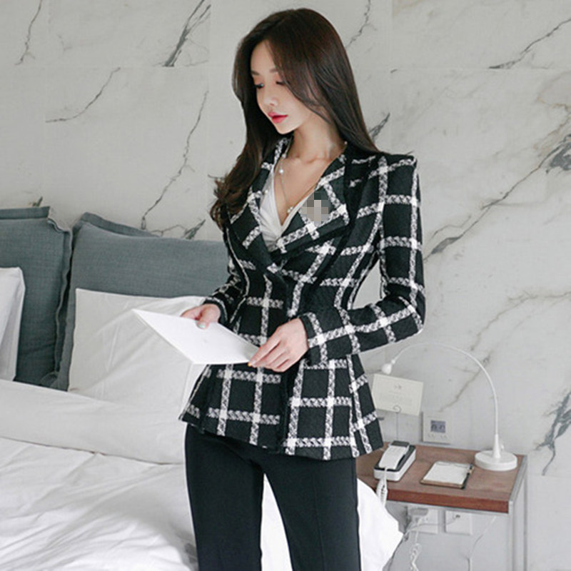 Tweed Lion Buttons Female Metal Color Double 2019 Designer Coat picture Runway Winter Autumn Breasted Picture Outerwear Black Color Plaid Jacket Women 64waPq1A