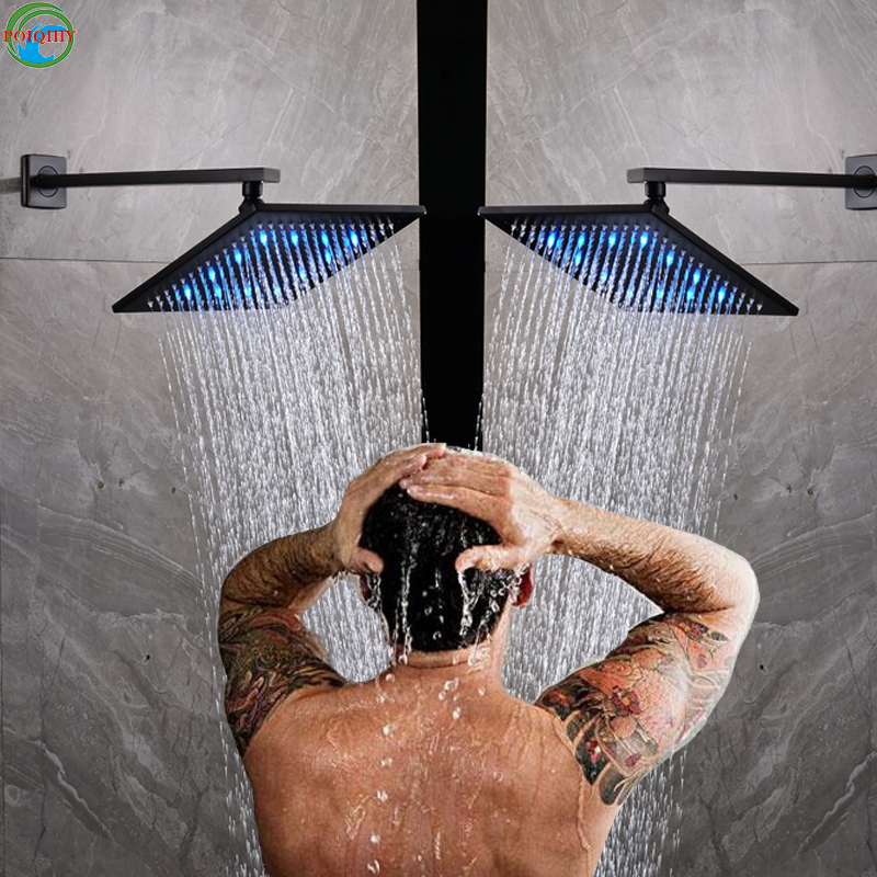8'' Oil Rubbed Bronze ORB LED Bathroom Shower Faucet Accessories Bathtub Mixer Tap Shower Faucet LED Rainfall Square Shower Head
