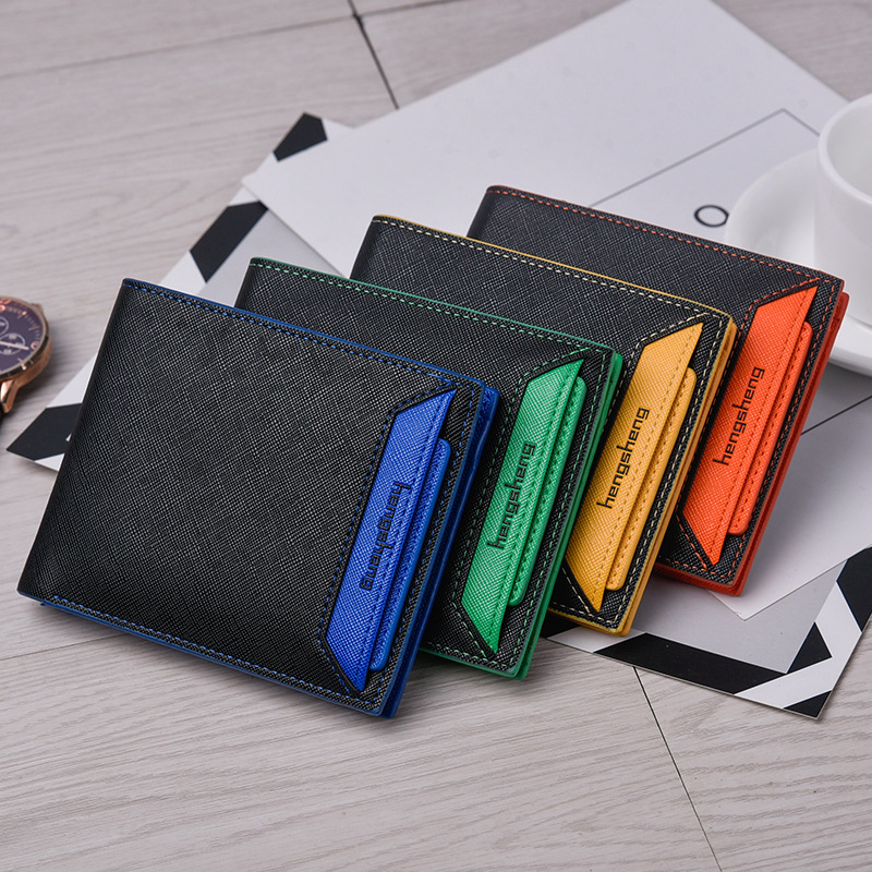 Heng sheng color card short driving license card package pu wallet Mens fashion wallet HS170002