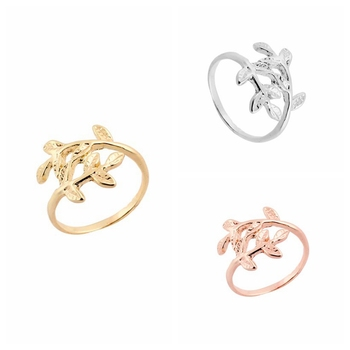 yiustar 1pc 2016 Fashion Rings Cute Double Leaf Ring Plant Branch Rings Women's Gift in Gold Size 6 R100 image