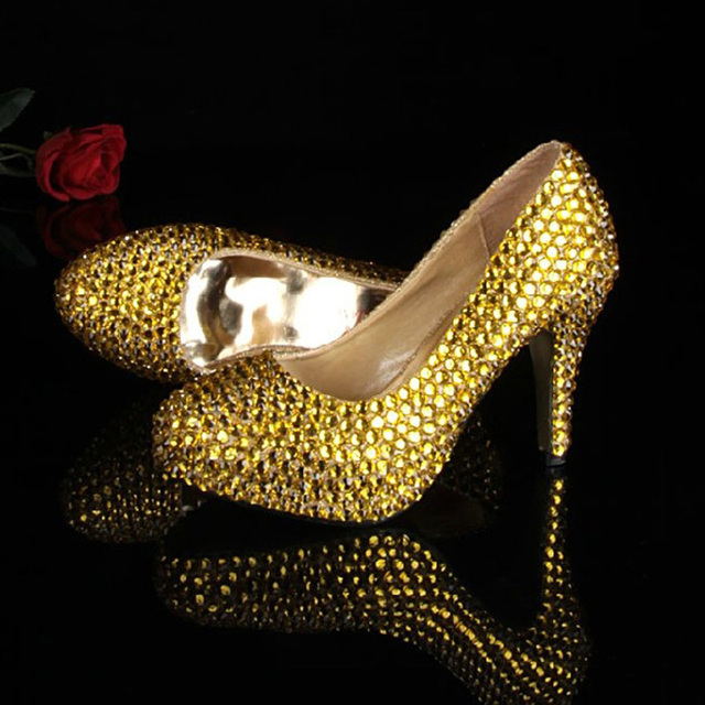 Bridesmaid Shoes Girls Formal Dress Shoes Gold Color Sexy Party Prom Shoes  with Rhinestones Women Wedding Dress Shoe for Bridal 43b763283497