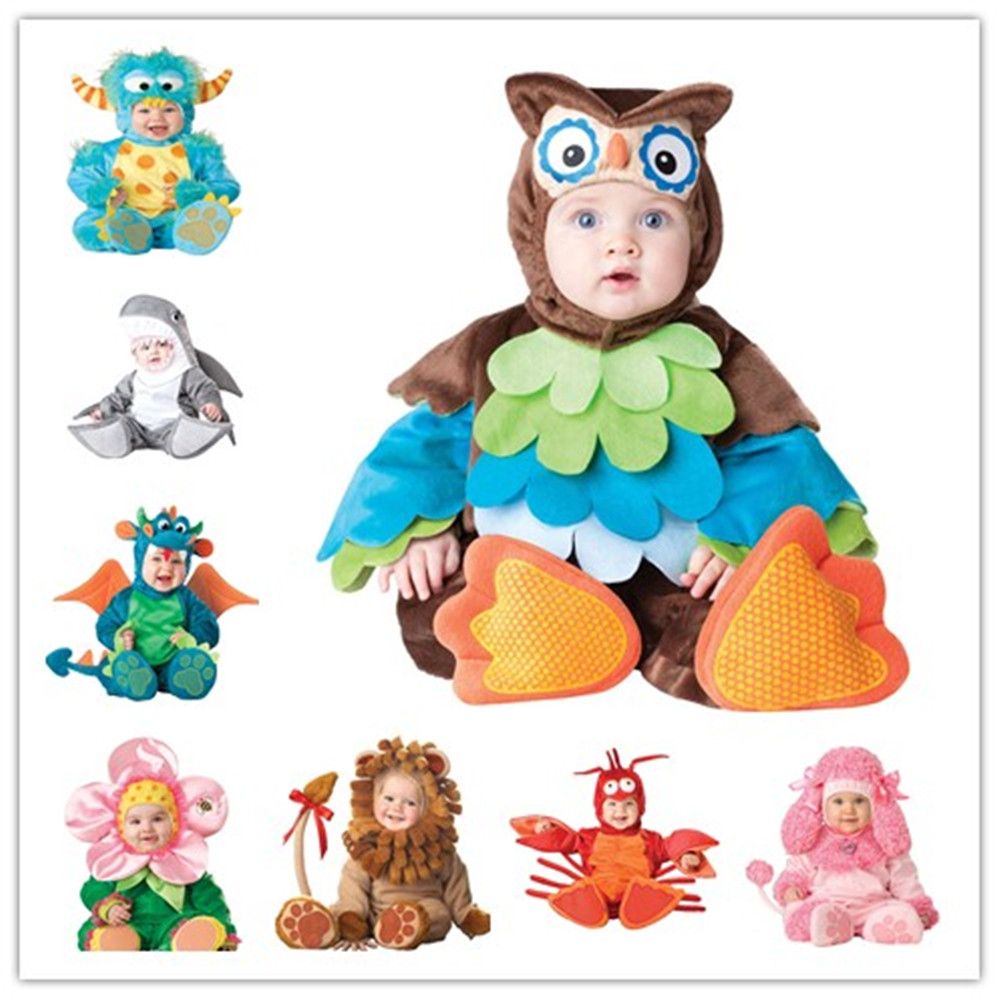 Cute Baby Cartoon Animal Costume Boys Girls Dragon Dinosaur Lion Jumpsuit Romper Halloween Kids Clothing Cosplay Character Gift kids boys pilot costume cosplay halloween set for children fantasia disfraces game uniforms boys military air force jumpsuit