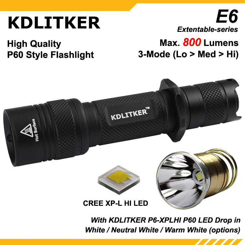 New KDLITKER E6 With KDLITKER P6-XPLHI White / Neutral White / Warm White P60 Style LED Drop In Module - Black