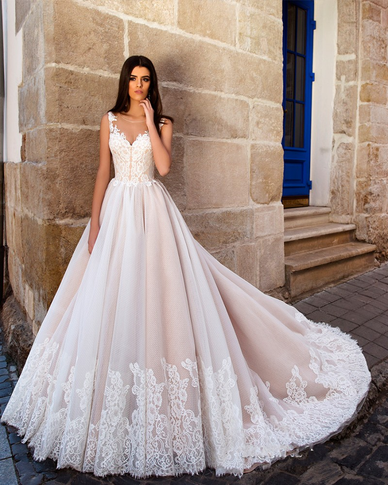 Vestido De Noiva 2017 New Elegant Lace Applique Tulle: 2017 Fashion Champagne Lace Wedding Dress Vintage Tulle