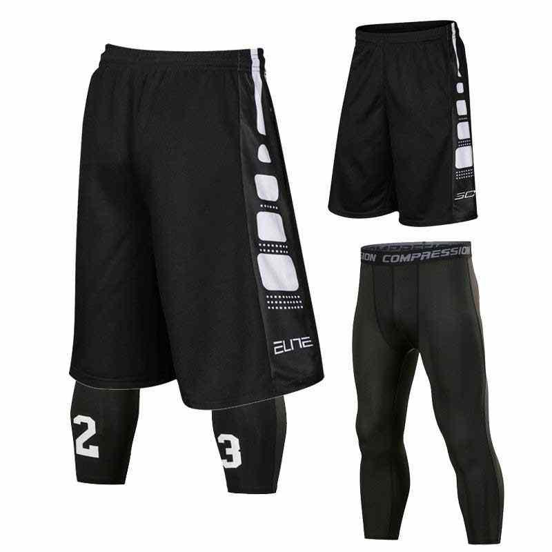 Мужские наборы спортивные Gymming быстросохнущие тренировки компрессионные капри укороченные повседневные пляжные шорты для бодибилдинга бега Тонкий Фитнес 8509