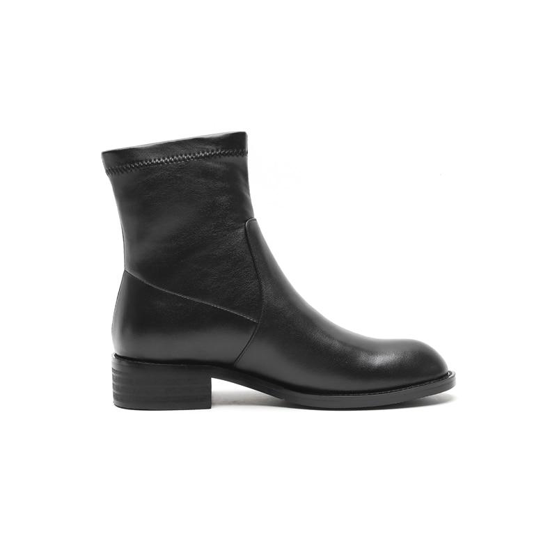 Épais Bottes Véritable Noir Cheville Black Talons Glissent Sur Med Talon Enmayer Chaussures Courtes Hiver Cr1620 Femmes b Bout En Cuir Automne Rond qOw4EvT