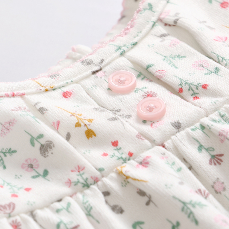 Vlinder Baby girl dress Spring Autumn Girl Clothes Print Floral Newborn Long Sleeve Cotton Dress Infant Pantyhose 2pcs Baby Set