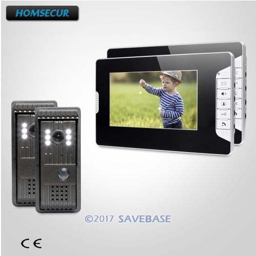HOMSECUR Hand-Free 7inch Wired Video Security Door Phone Electric Lock Supported for Home Security 2V2